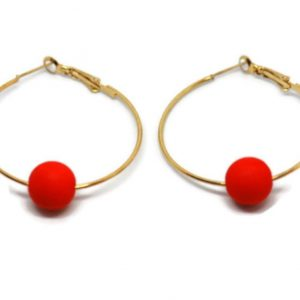 Oorbellen Hoops Koraal - Goud | The Fashion Label